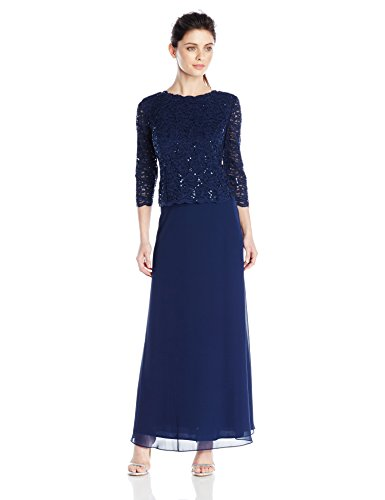 Alex Evenings Women's Long Mock Dress with Full Skirt (Petite and Regular Sizes), Navy, 16P