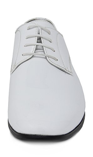 Mens Bruno 6 white Dress Ceremony Faux Shoes Oxfords Marc Loafers Leather Patent fvnwrPf5q