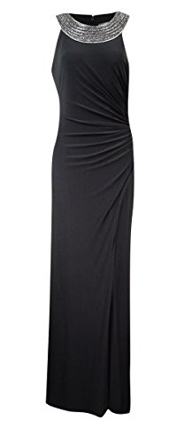 Vince Camuto Women's Embellished Cleopatra-Neck Draped Gown (10, Black)