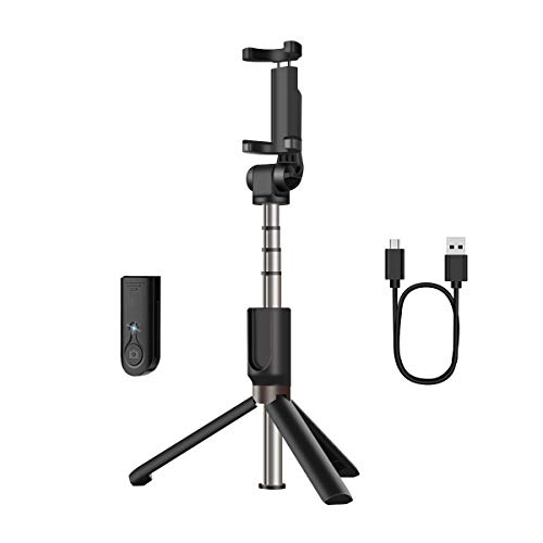 AFAITH Selfie Stick Bluetooth, Extendable Selfie Stick Tripod Stand with Wireless Remote Shutter Compatible with iPhone Xs/XS max/X/8/8P/7/7P/6s/6, Galaxy S9/S9 Plus/S8/S7/S6/S5/Note 9/8 and More