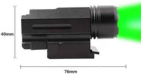 FIRECLUB 150 Lumens Green LED Mount Tactical Gun Flashlight Pistol Light with Strobe Weaver Quick Release for Hunting, Black