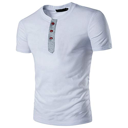 HimTak Men's Casual Ripped Hole Short Sleeve T-shirt Top Blouse(White,XL) ()