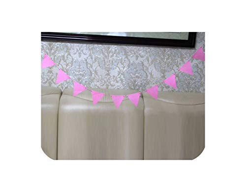 (2.5M Multicolor Garland 12Pcs Flags Non-Woven Fabric Banner Pennant Bunting Baby Shower Birthday Wedding Party)