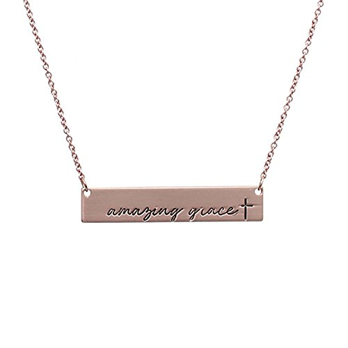 Amazing Jewelry (MYS Collection Riah Fashion Women's Message Bar Necklace (Amazing Grace - Rose Gold))