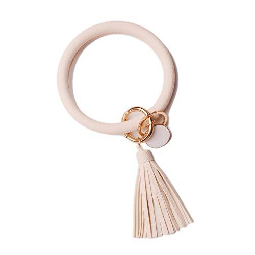 L&N Rainbery PU Leather O Key Chain Circle Tassel Wristlet Keychain for Women Girls (Beige Tassel #2) ()