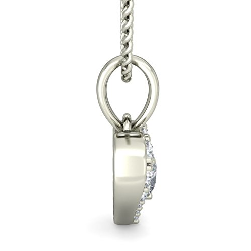 18K Or Blanc 0,22CT TW Round-cut-diamond (IJ | SI) Amour Pendentif