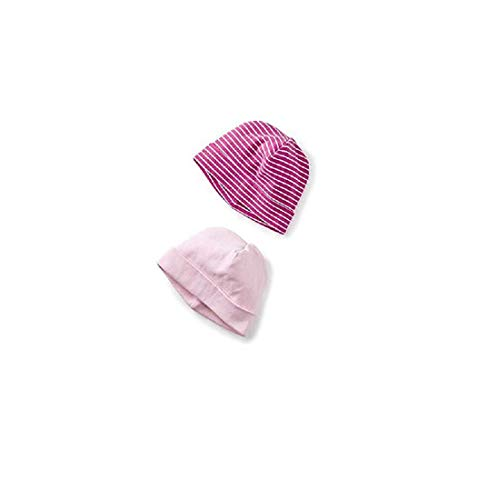 Tea Collection Two-Pack Hat, Pink Crepe (Light Pink Solid/Hot Pink and White Stripes (0-3 Months)