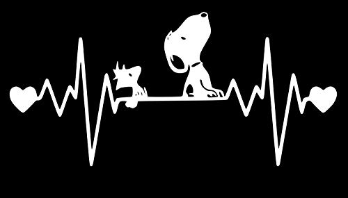 UR Impressions 10.3in. Snoopy and Woodstock Heartbeat Decal Vinyl Sticker Graphics for Car Truck SUV Van Wall Window Laptop|White|10.3 X 5.5 Inch|URI681