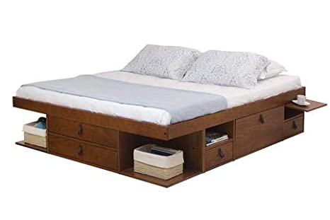 Funktionsbett Bali 180x200 - Bett mit viel Stauraum und Schubladen, optimal  für kleine Schlafzimmer - Modernes Stauraumbett aus Kiefer Massivholz - ...