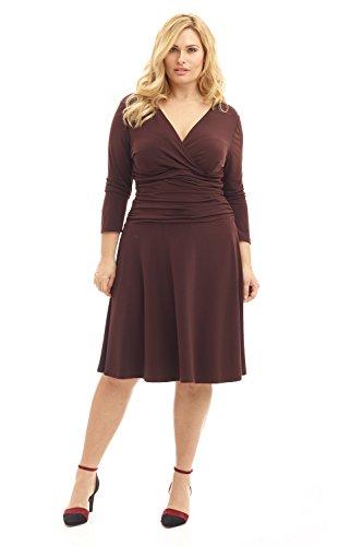 Rekucci Curvy Fit Plus Size Women's Slimming 3/4 Sleeve Tummy Control Dress (24W,Espresso)