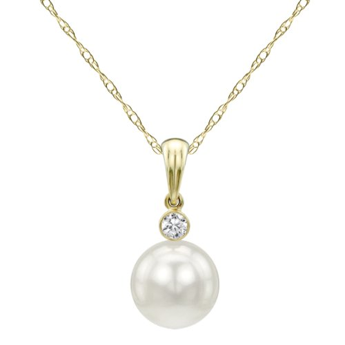 14k Yellow Gold 1/20cttw Diamond and 9-9.5mm White Freshwater Cultured Pearl Pendant, 18
