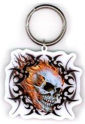 Hot Leathers - Tribal Flaming Skull - Metal Keychain (Skull Tribal Leather)