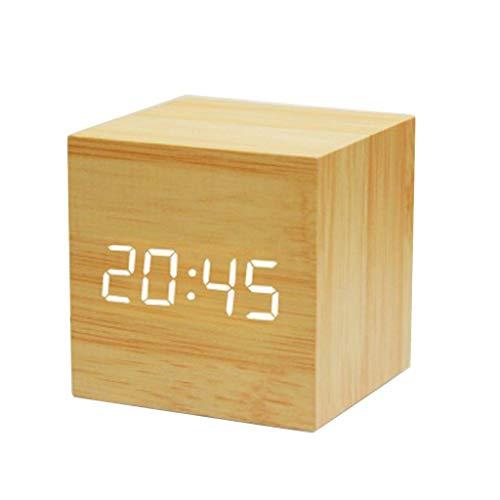 cici store Digital LED Cube Alarm Clock,Sound Control Calendar Wooden Square Table ()
