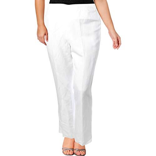 (Kasper Womens Audrey Linen Business Dress Pants White 4)