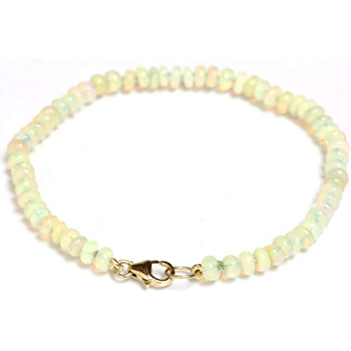 Seven Seas Pearls Fire Opal Bracelet Ethiopian 4mm Beads 14k Yellow Gold Lobster Clasp (8) ()