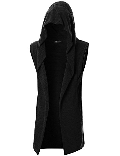 GIVON Mens Sleeveless Lightweight Ruffle Shawl Collar Cardigan with Pockets/DCC046-BLACK-M by GIVON