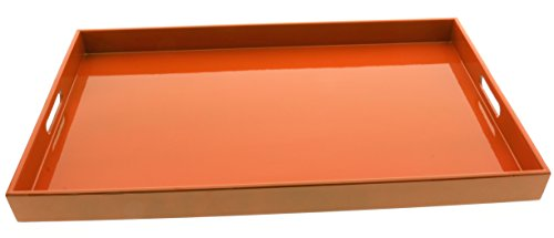 (Kotobuki Rectangular Gloss Orange Lacquer Serving Tray, 18