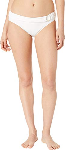 (Michael Michael Kors Women's Iconic Solids Logo Ring Bikini Bottoms White Large)