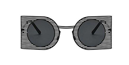 cercle style Frêne retro polarisées métallique inspirées Lennon rond vintage lunettes de soleil en Noir du xBqwABFvX