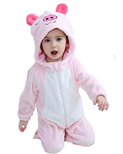 (Tonwhar Baby Animal Bodysuit Halloween Costume (70 Ages 3-6 Months, Pink)