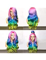 BlueSpace Synthetic Wigs Rainbow Color Long Curly Wave