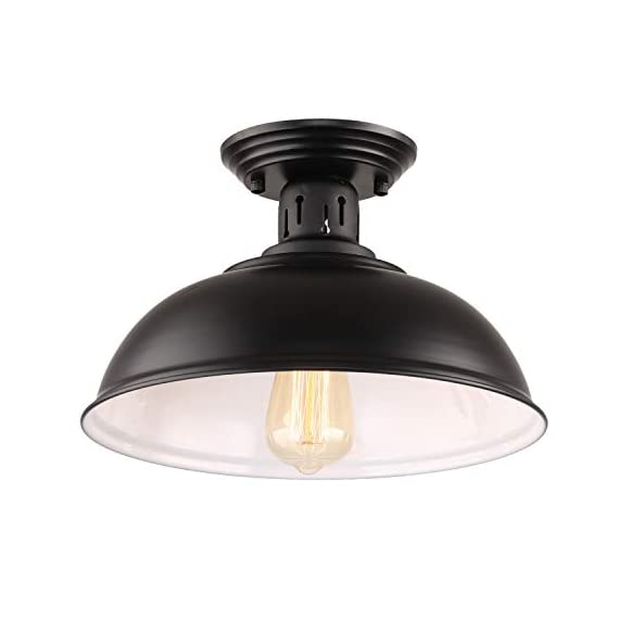 HMVPL Semi Flush Mount Ceiling Light Fixture, Farmhouse Black Close to Ceiling Lighting Industrial Decor Lamp for Kitchen Island Bedroom Living Room Foyer Hallway Entryway Office Closet - Wide Application: Kitchen Island, Dining Room, Living room, Bed room, Café, Bar, Hotel, Office, Hallway, Entryway, Foyer, barn, warehouse, basement, garage, porch, and more. Retro Industrial Design - This pendant light features on the black finish lampshade, which easily brings you back to 19th century. It will adds stylish touch to your house and business areas. Medium Base Socket -Designed with E26 bulb socket that is compatible with a variety of bulb types: Incandescent, Halogen. LED (60W Max, Not Included). This fixture can be dimmable if use compatible dimmer switch and bulb. - kitchen-dining-room-decor, kitchen-dining-room, chandeliers-lighting - 31hUg1QnljL. SS570  -
