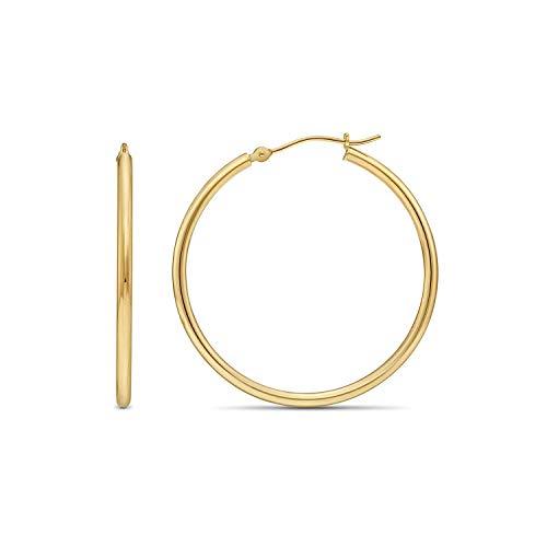 14k Yellow Gold Classic Shiny Polished Round Hoop Earrings, 2mm tube (30mm (1.2 inch)) (E Earrings)