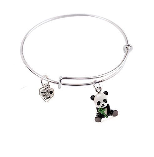ngle bracelet with 3-D Baby Panda and Small Heart Charms, Qty:1 ()