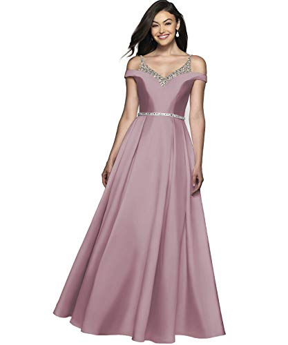 YGSY Women's V Neck Pleated Satin Formal Gown Long Prom Dress with Beaded Belt Dusty Rose Size 2