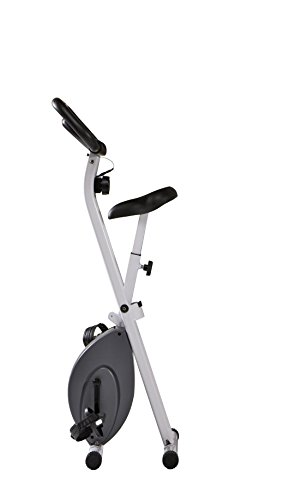 Marcy Foldable Upright Exercise Bike with Adjustable Resistance for Cardio Workout Strength Training