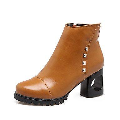 moda mujer combate para informal de Botines EU35 grueso Botas Tacones CN34 US5 cremallera tacón RTRY de Invierno Otoño con de Remache Piel cerrados Zapatos UK3 sintética Botas Botas de En6fz6q7g