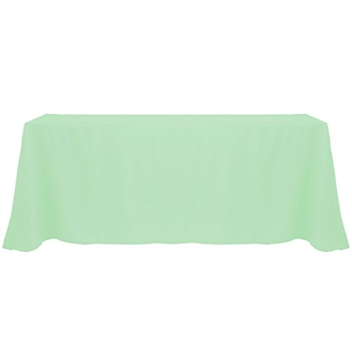 Ultimate Textile (20 Pack) 90 x 132-Inch Rectangular Polyester Linen Tablecloth with Rounded Corners - for Wedding, Restaurant or Banquet use, Mint Light Green by Ultimate Textile