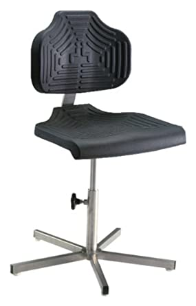 """Milagon EDJ WS1410 Polyurethane Workseat on Stainless Steel Base Chair, Low Profile, 17""""-24"""" Adjustment Height"""