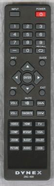 NEW Dynex ZRC-400 LCD TV Remote Control DX-15L150A11, DX-22L