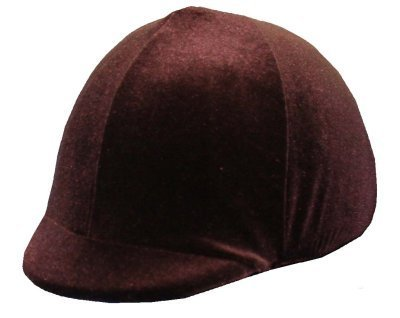 Equestrian Riding Helmet Cover - Brown Velvet Helmet Covers Etc.