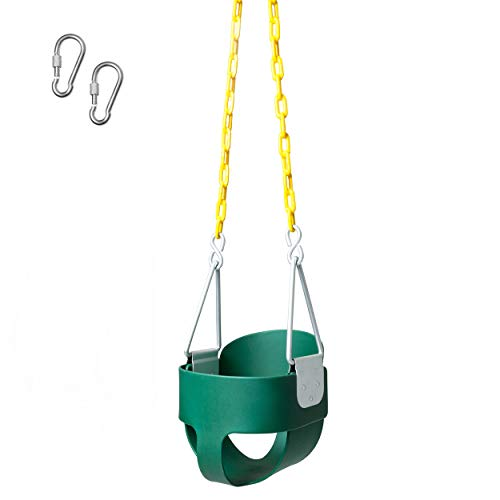 Heavy Duty High Back Toddler Bucket Swing - 250 lb Weight Capacity, Fully Assembled, Safety Coated Swing Chain Easy -