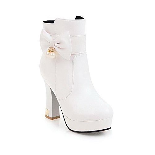 Balamasa Femmes Mode Sans Fermeture Solide Uréthane Bottes Blanc