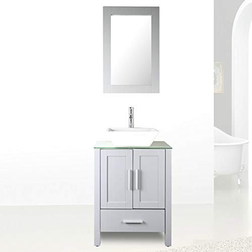 """24"""" Grey Bathroom Vanity Cabinet and Sink Combo Glass Top MDF Wood w/Sink Faucet &Drain Set"""