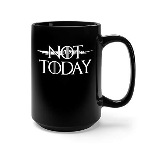 Not Today Knife Ceramic Coffee Mug Tea Cup (15oz, Black) -