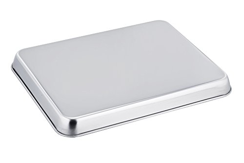 TeamFar Baking Sheet Cookie Sheet Set of 2, Pure Stainless Steel baking Pan Tray Professional, Non Toxic & Healthy… 3 √ HEALTHY MATERIAL - These baking sheets are made of high quality 18/0 magnetic stainless steel without toxic chemical coating; Rust resistant and durable material make these sheets perfect for everyday use √ EXQUISITE CRAFT - TeamFar baking pan is processed with superb mirror finish so its surface can decrease the risk of sticking; Smooth roll edge without rough spots make it comfortable to hold and transfer √ EASY CLEAN - Deep full sides all around keep food contained and prevent juice from flowing everywhere when roasting to keep your oven neat; TeamFar baking dish is compatible with dishwasher and just free your hands from now on