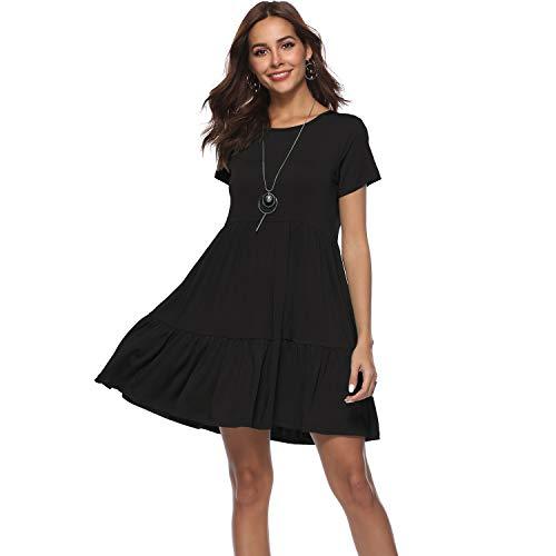 CROSS1946 Women Summer Short Sleeve Ruffle Plain Beach Tunic Loose Swing Casual T Shirt Dress Sun Dress S-XL Black (3/4 Sleeve Princess Seam Shirt)