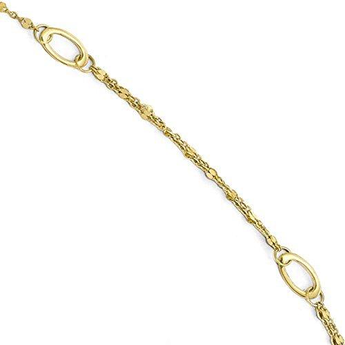 Bracelet Charm Oval 14k (CKL International 14k Yellow Gold Oval Anklet 10 Inch with Extender)