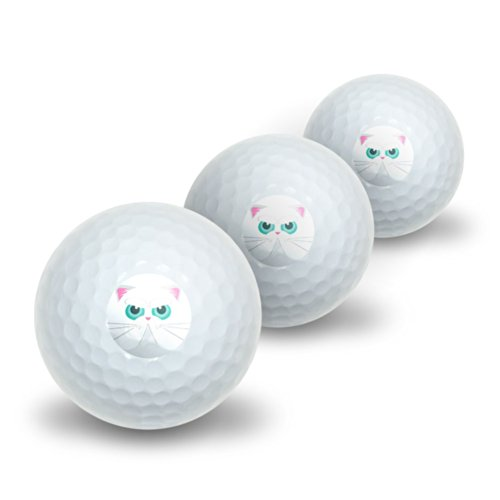 Graphics and More Persian Cat Face Novelty Golf Balls 3 Pack by Graphics and More