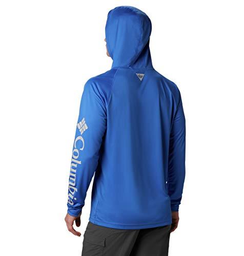 Columbia Men's Terminal Tackle Sun Hoodie, Moisture Wicking, Vivid Blue, Cool Grey Logo, Small