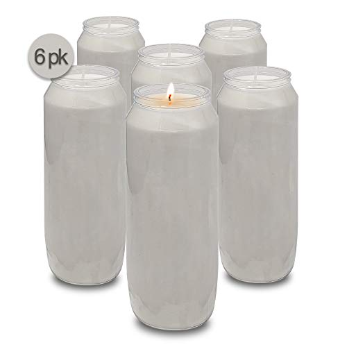 Hyoola 9 Day White Prayer Candles, 6 Pack - 7