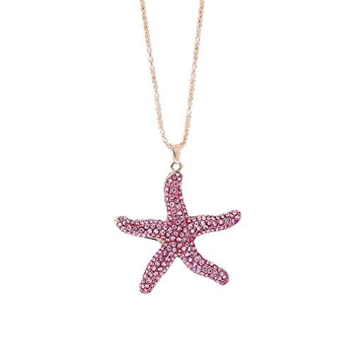 Clearance Sale! Noopvan Deals Star Fish Pendant Necklace Women Vintage Star Fish Cabochon Necklace Jewelry (Pink)