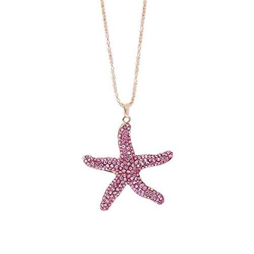 Noopvan Deals Star Fish Pendant Necklace Women Vintage Star Fish Cabochon Necklace Jewelry (Pink)
