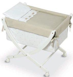 Bimbi Class–Baby, 68x 83x 76cm, weiß und Leinen