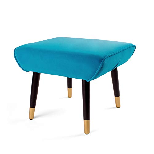 Adeco Ottoman Stool Seat – Modern Simple Nordic -17 Inches Height Teal