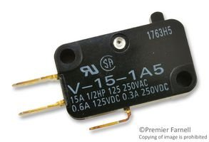 OMRON ELECTRONIC COMPONENTS V-15-1A5 MICRO SWITCH, PIN PLUNGER, SPDT 15A 250V